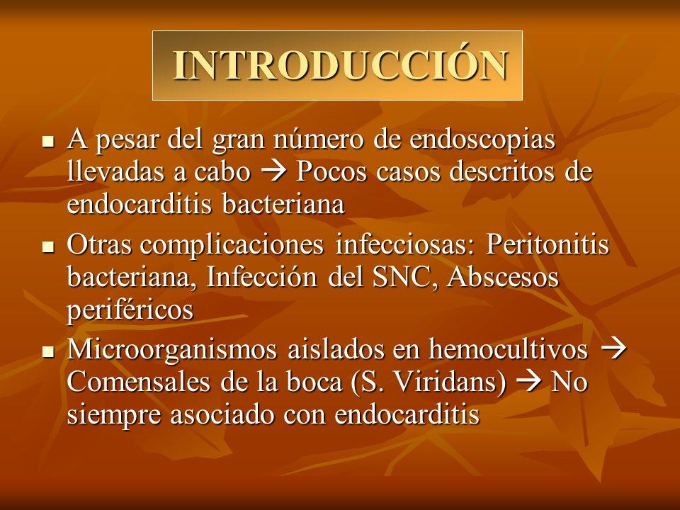 INTRODUCCIÓN A pesar del gran número de endoscopias llevadas a cabo Pocos casos descritos de endocarditis bacteriana A pesar del gran número de endosc