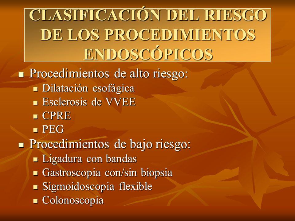 CLASIFICACIÓN DEL RIESGO DE LOS PROCEDIMIENTOS ENDOSCÓPICOS Procedimientos de alto riesgo: Procedimientos de alto riesgo: Dilatación esofágica Dilatac