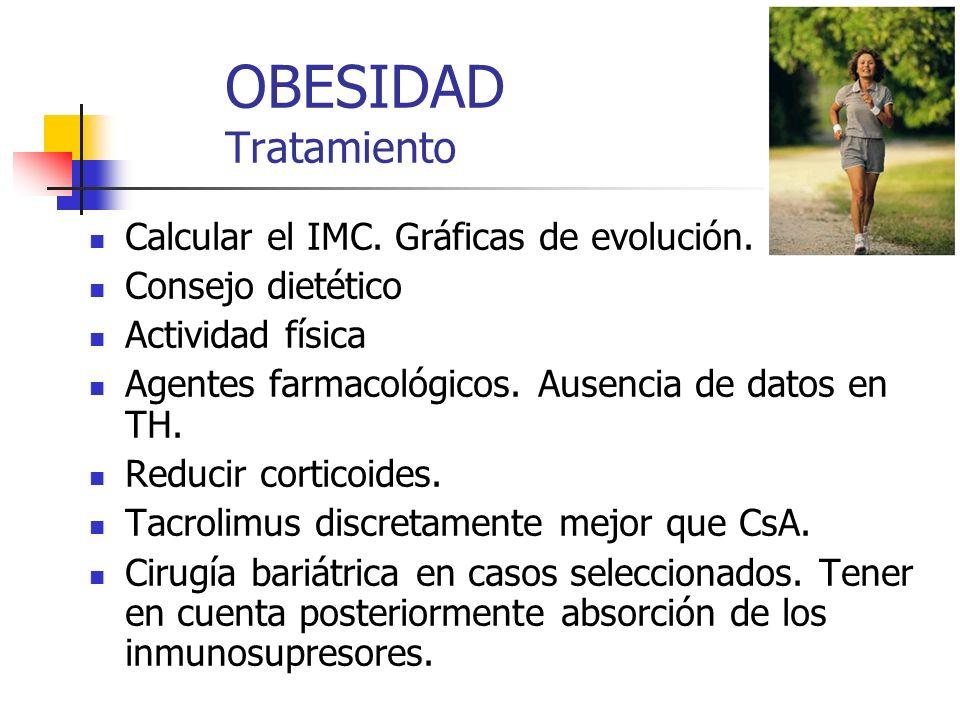 OBESIDAD Tratamiento Calcular el IMC. Gráficas de evolución. Consejo dietético Actividad física Agentes farmacológicos. Ausencia de datos en TH. Reduc