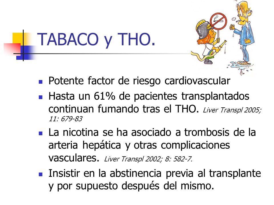 TABACO y THO. Potente factor de riesgo cardiovascular Hasta un 61% de pacientes transplantados continuan fumando tras el THO. Liver Transpl 2005; 11:
