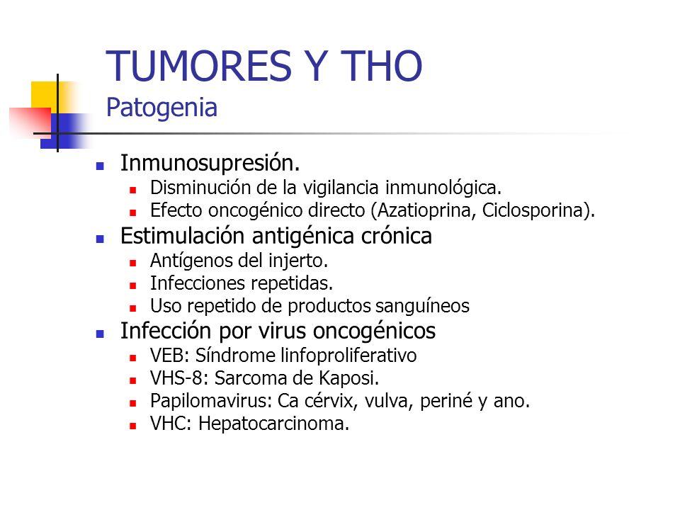 TUMORES Y THO Patogenia Inmunosupresión. Disminución de la vigilancia inmunológica. Efecto oncogénico directo (Azatioprina, Ciclosporina). Estimulació