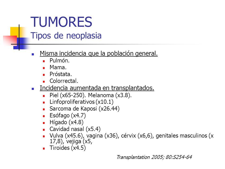TUMORES Tipos de neoplasia Misma incidencia que la población general. Pulmón. Mama. Próstata. Colorrectal. Incidencia aumentada en transplantados. Pie