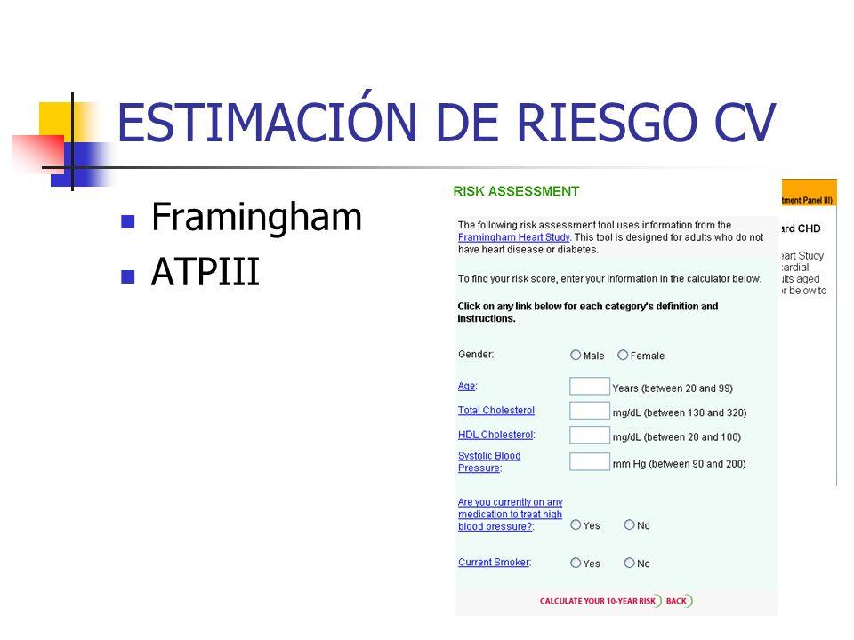 ESTIMACIÓN DE RIESGO CV Framingham ATPIII