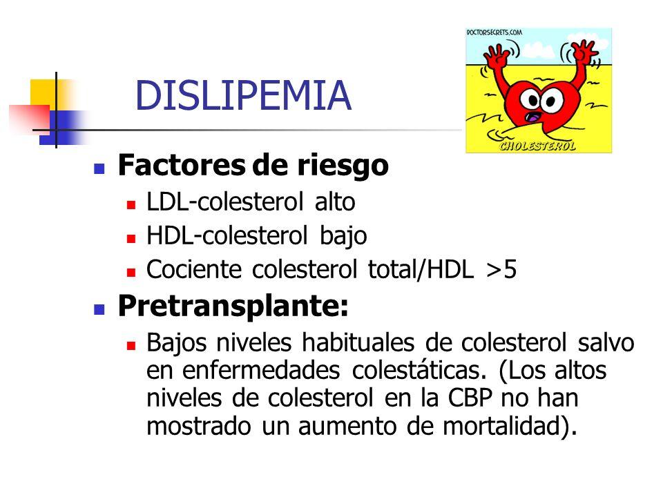 DISLIPEMIA Factores de riesgo LDL-colesterol alto HDL-colesterol bajo Cociente colesterol total/HDL >5 Pretransplante: Bajos niveles habituales de col