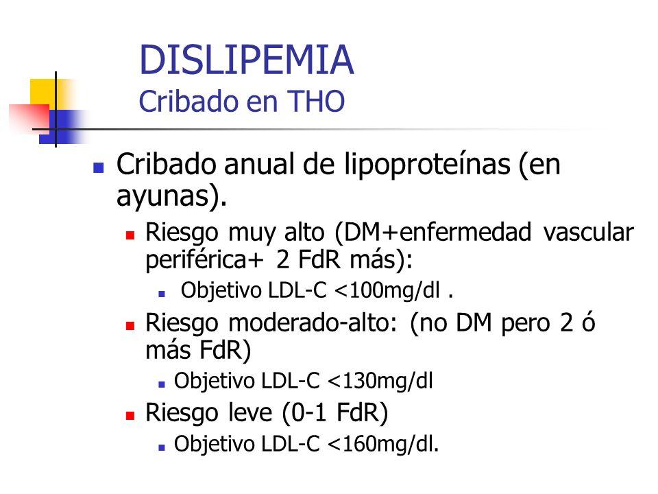 DISLIPEMIA Cribado en THO Cribado anual de lipoproteínas (en ayunas). Riesgo muy alto (DM+enfermedad vascular periférica+ 2 FdR más): Objetivo LDL-C <