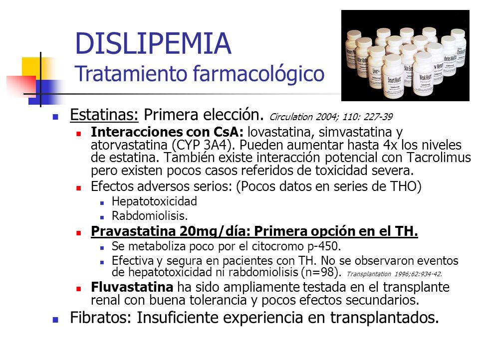 Estatinas: Primera elección. Circulation 2004; 110: 227-39 Interacciones con CsA: lovastatina, simvastatina y atorvastatina (CYP 3A4). Pueden aumentar