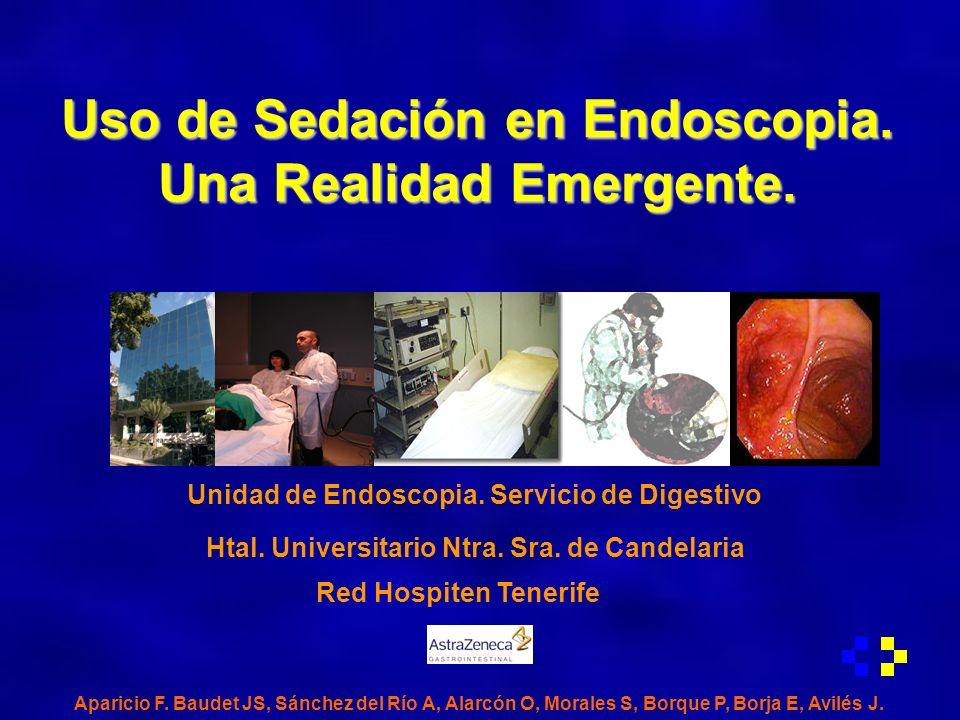 Sedación en Endoscopia Introducción En los últimos años se ha extendido el uso de la sedación en la práctica habitual de las Unidades de Endoscopia Digestiva (UED) de nuestro País.
