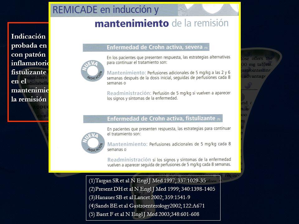 (1)Targan SR et al N Engl J Med 1997; 337:1029-35 (2)Present DH et al N Engl J Med 1999; 340:1398-1405 (3)Hanauer SB et al Lancet 2002; 359:1541-9 (4)Sands BE et al Gastroenterology2002; 122:A671 (5) Baert F et al N Engl J Med 2003;348:601-608 Indicación probada en EC con patrón inflamatorio(1) y fistulizante (2) y en el mantenimiento de la remisión Indicación probada en EC con patrón inflamatorio(1) y fistulizante (2) y en el mantenimiento de la remisión En los ensayos clínicos publicados 17- 21% de los pacientes (1,3,4) y por encima del 60% en series abiertas desarrollan anticuerpos contra el mismo (ATI) En los ensayos clínicos publicados 17- 21% de los pacientes (1,3,4) y por encima del 60% en series abiertas desarrollan anticuerpos contra el mismo (ATI) Pérdida de eficacia Reacción de hipersensibilidad inmediata y retardada ATI