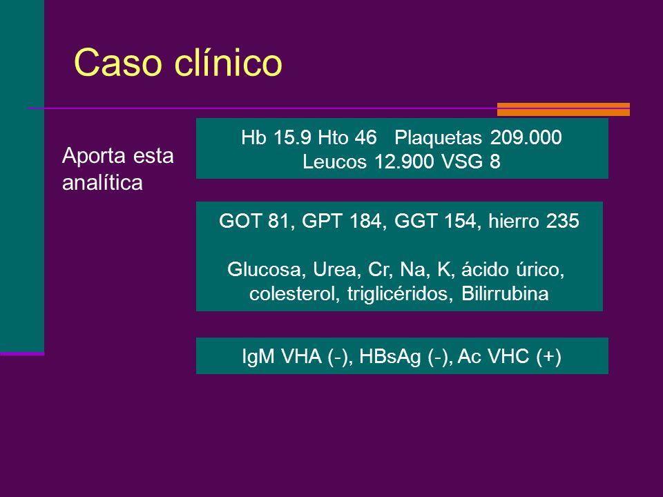 Caso clínico Hb 15.9 Hto 46 Plaquetas 209.000 Leucos 12.900 VSG 8 GOT 81, GPT 184, GGT 154, hierro 235 Glucosa, Urea, Cr, Na, K, ácido úrico, colester