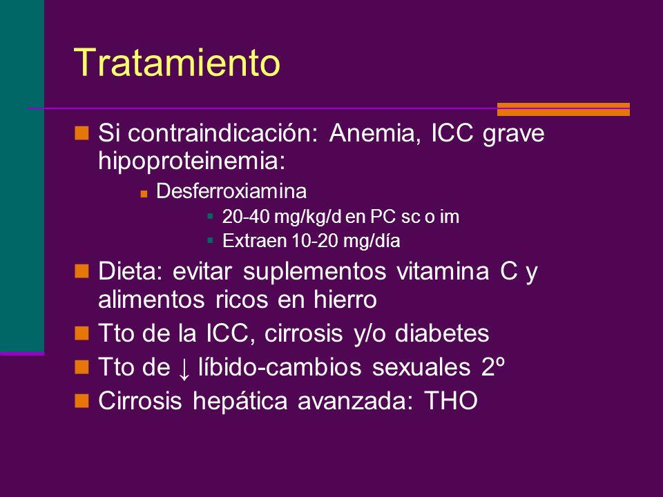 Tratamiento Si contraindicación: Anemia, ICC grave hipoproteinemia: Desferroxiamina 20-40 mg/kg/d en PC sc o im Extraen 10-20 mg/día Dieta: evitar sup