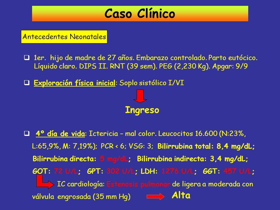 Caso Clínico Antecedentes Neonatales 1er. hijo de madre de 27 años. Embarazo controlado. Parto eutócico. Líquido claro. DIPS II. RNT (39 sem). PEG (2,