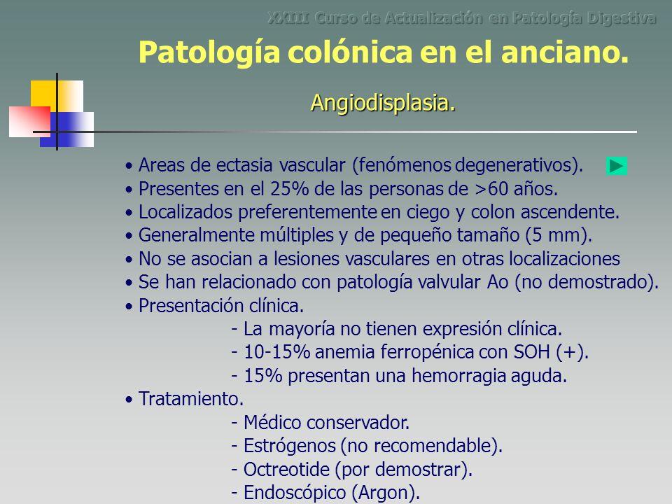 Areas de ectasia vascular (fenómenos degenerativos). - La mayoría no tienen expresión clínica. Presentes en el 25% de las personas de >60 años. Locali