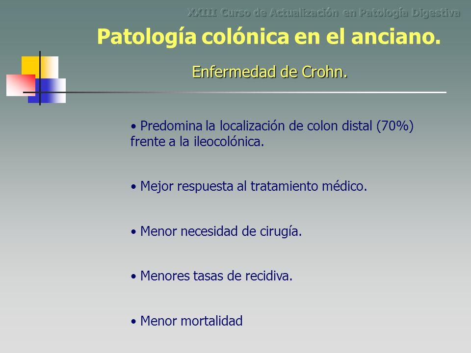 Predomina la localización de colon distal (70%) frente a la ileocolónica. Menor necesidad de cirugía. Mejor respuesta al tratamiento médico. Menores t