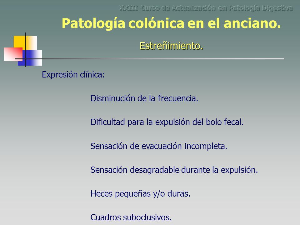 Malabsorción. Patología colónica en el anciano.
