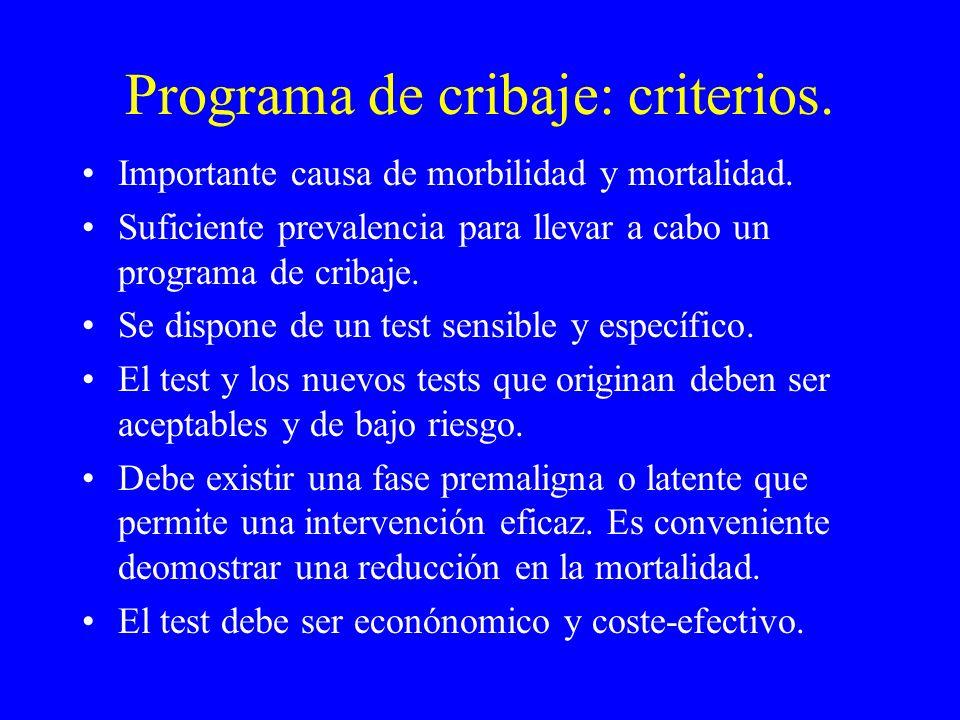 Programa de cribaje: criterios. Importante causa de morbilidad y mortalidad. Suficiente prevalencia para llevar a cabo un programa de cribaje. Se disp