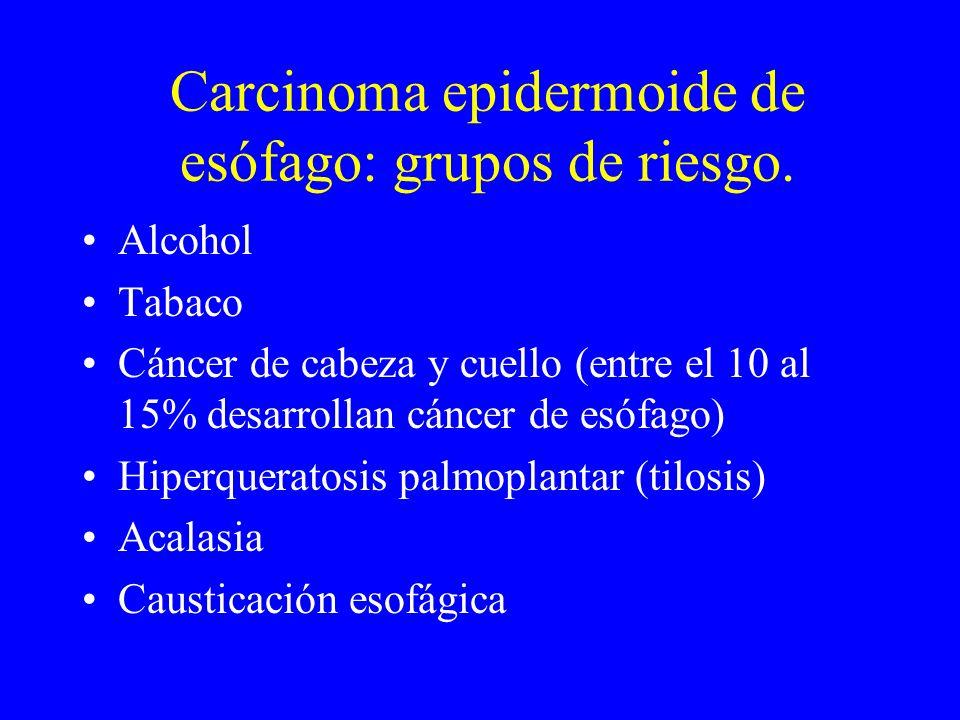 Carcinoma epidermoide de esófago: grupos de riesgo. Alcohol Tabaco Cáncer de cabeza y cuello (entre el 10 al 15% desarrollan cáncer de esófago) Hiperq