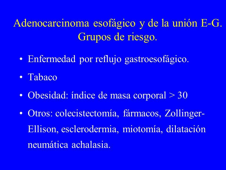 Adenocarcinoma esofágico y de la unión E-G. Grupos de riesgo. Enfermedad por reflujo gastroesofágico. Tabaco Obesidad: índice de masa corporal > 30 Ot
