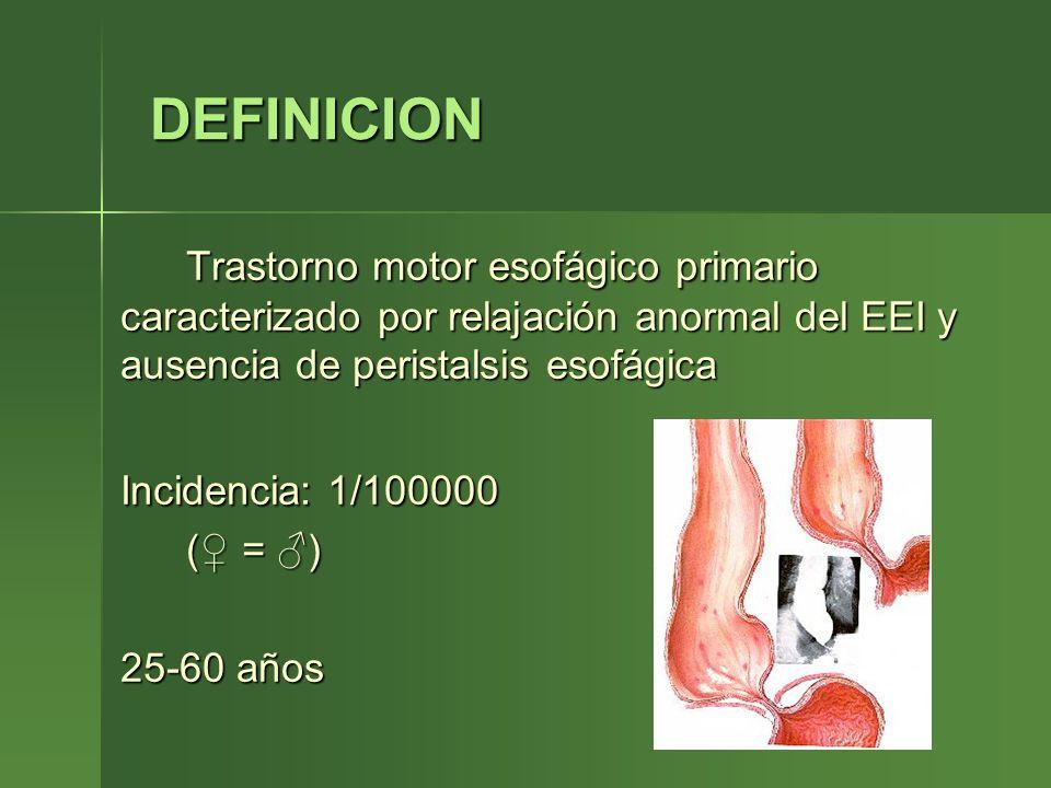 DEFINICION DEFINICION Trastorno motor esofágico primario caracterizado por relajación anormal del EEI y ausencia de peristalsis esofágica Incidencia: