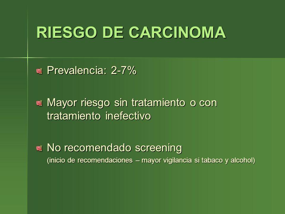 RIESGO DE CARCINOMA Prevalencia: 2-7% Mayor riesgo sin tratamiento o con tratamiento inefectivo No recomendado screening (inicio de recomendaciones –