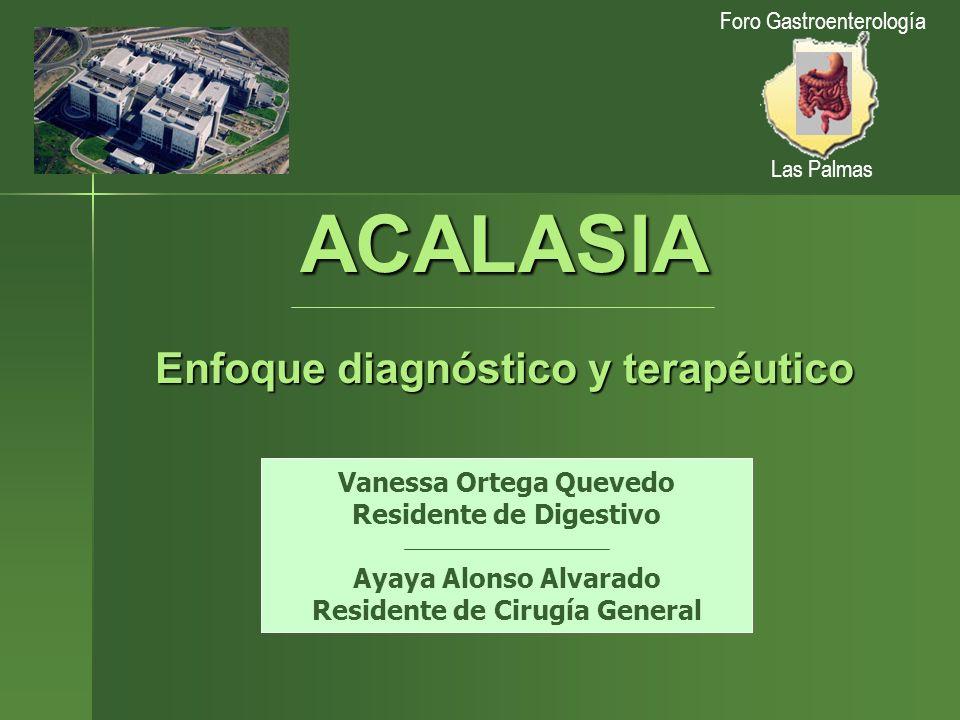 ACALASIA Enfoque diagnóstico y terapéutico Vanessa Ortega Quevedo Residente de Digestivo Ayaya Alonso Alvarado Residente de Cirugía General Foro Gastr