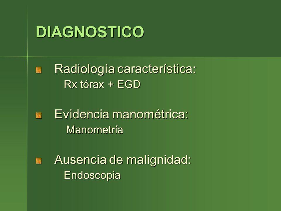DIAGNOSTICO Radiología característica: Rx tórax + EGD Evidencia manométrica: Manometría Ausencia de malignidad: Endoscopia
