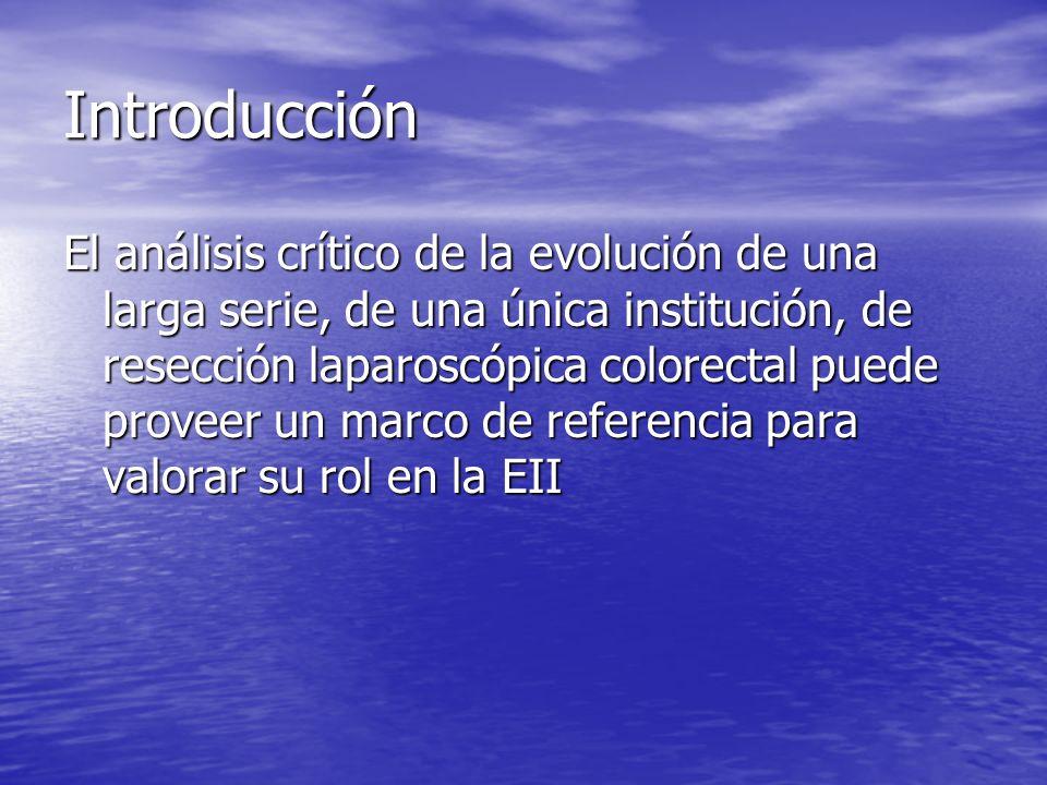 Introducción El análisis crítico de la evolución de una larga serie, de una única institución, de resección laparoscópica colorectal puede proveer un