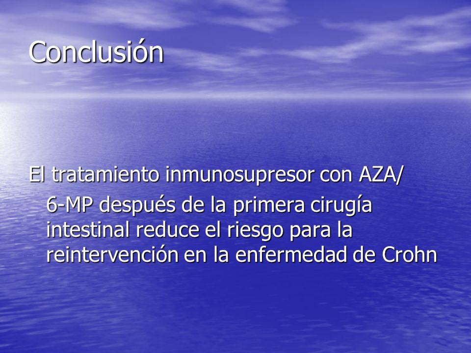 Conclusión El tratamiento inmunosupresor con AZA/ 6-MP después de la primera cirugía intestinal reduce el riesgo para la reintervención en la enfermed