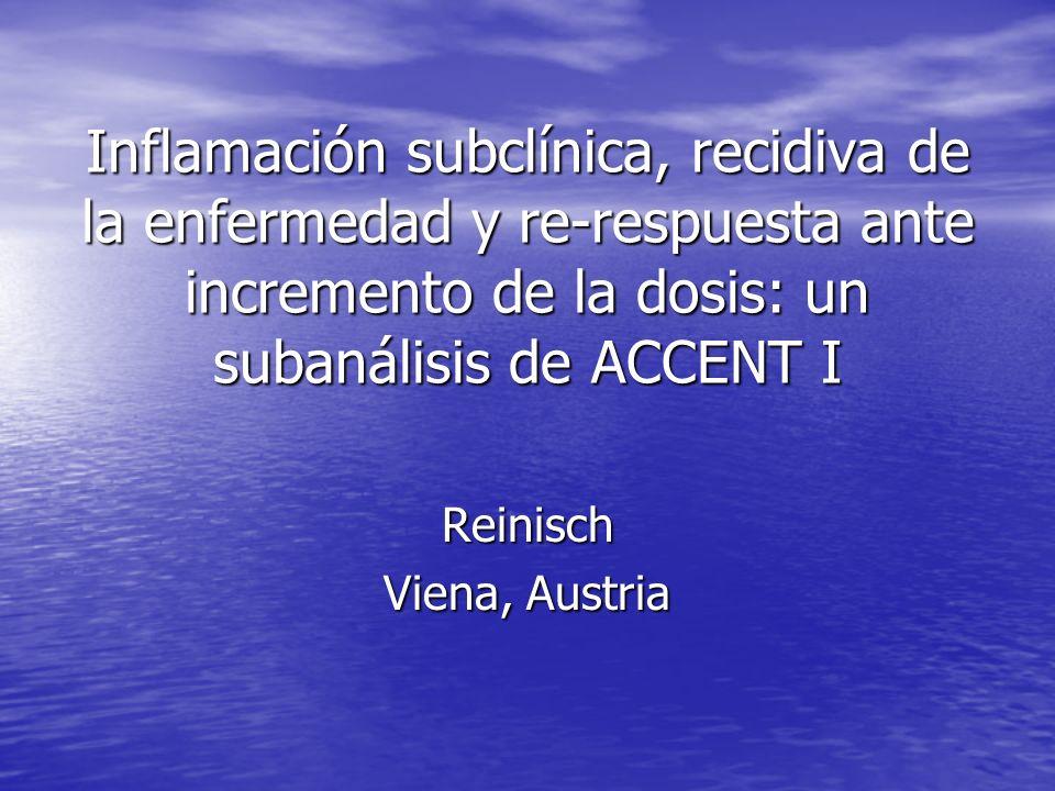 Inflamación subclínica, recidiva de la enfermedad y re-respuesta ante incremento de la dosis: un subanálisis de ACCENT I Reinisch Viena, Austria