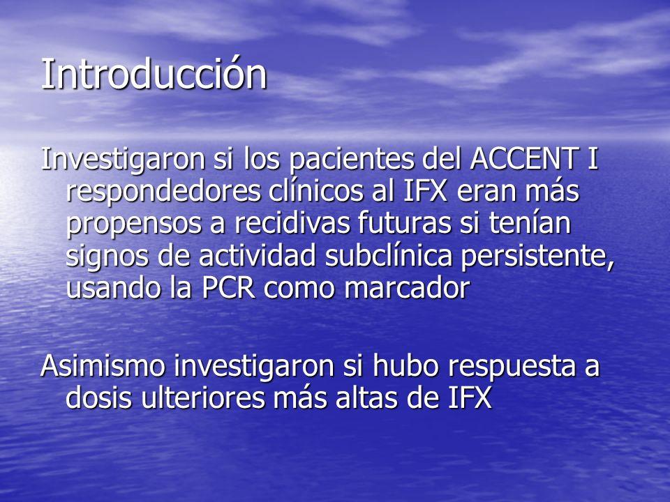 Introducción Investigaron si los pacientes del ACCENT I respondedores clínicos al IFX eran más propensos a recidivas futuras si tenían signos de activ