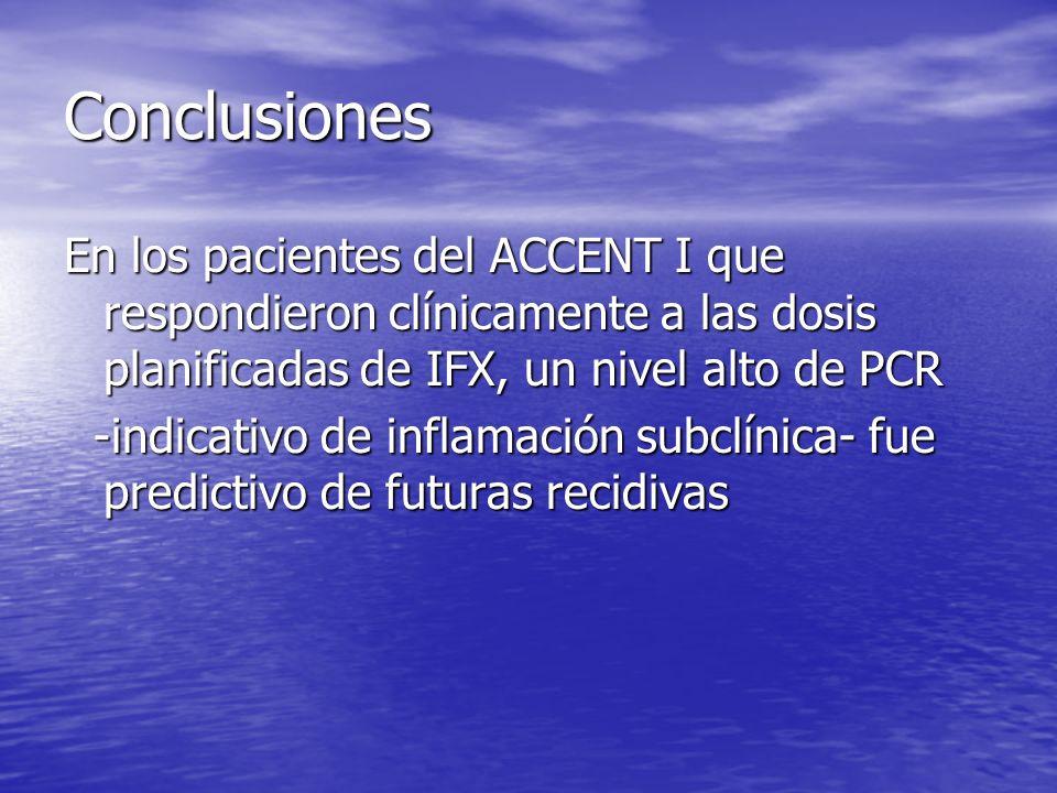 Conclusiones En los pacientes del ACCENT I que respondieron clínicamente a las dosis planificadas de IFX, un nivel alto de PCR -indicativo de inflamac