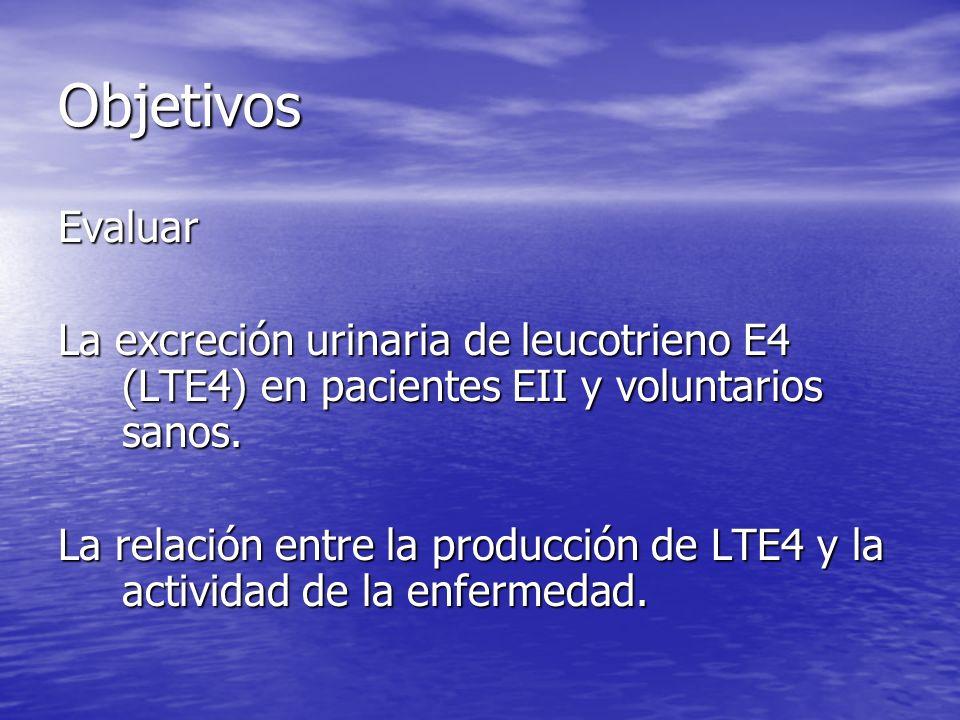 Objetivos Evaluar La excreción urinaria de leucotrieno E4 (LTE4) en pacientes EII y voluntarios sanos. La relación entre la producción de LTE4 y la ac