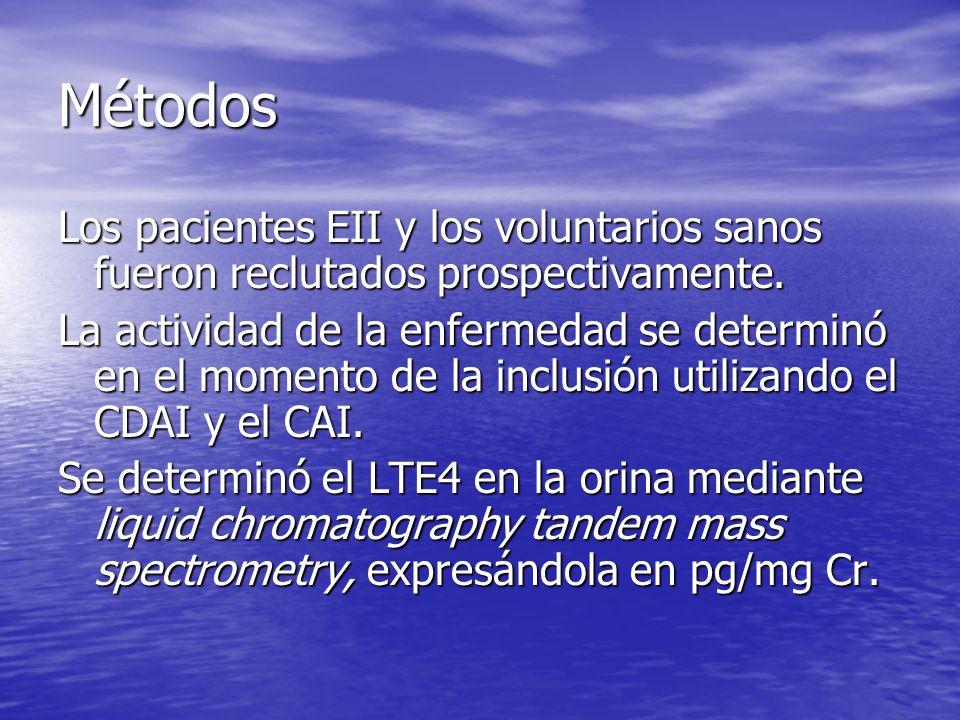 Métodos Los pacientes EII y los voluntarios sanos fueron reclutados prospectivamente. La actividad de la enfermedad se determinó en el momento de la i