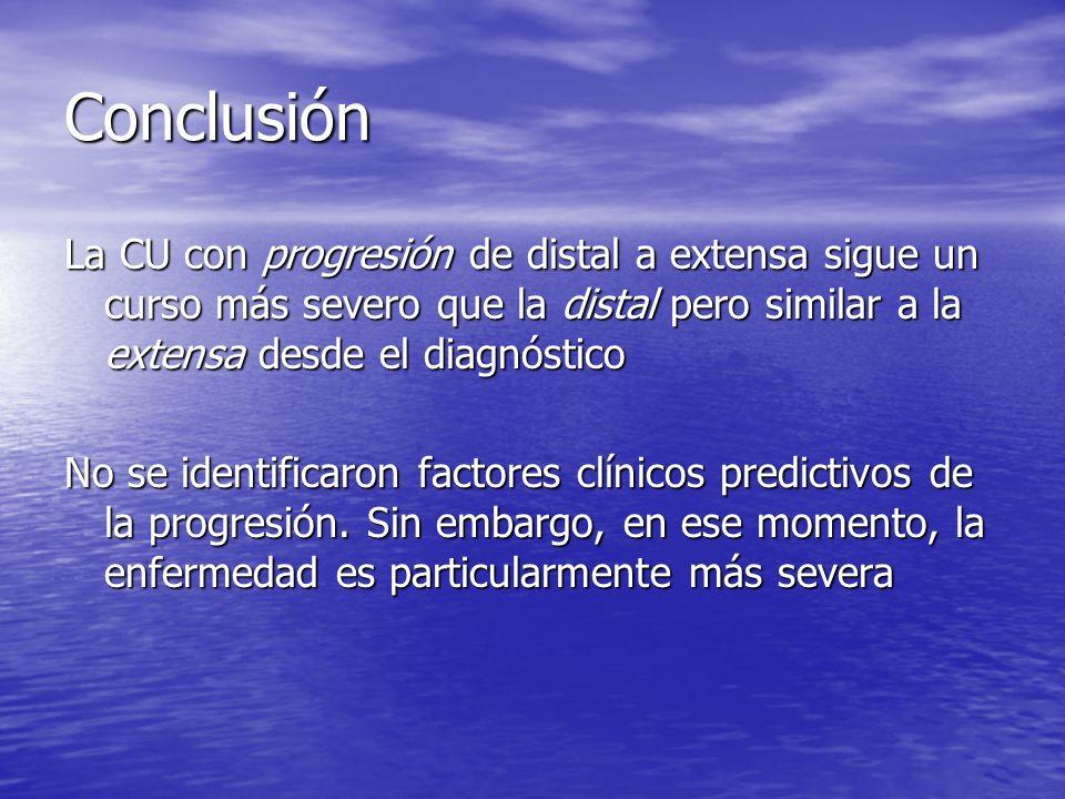 Conclusión La CU con progresión de distal a extensa sigue un curso más severo que la distal pero similar a la extensa desde el diagnóstico No se ident