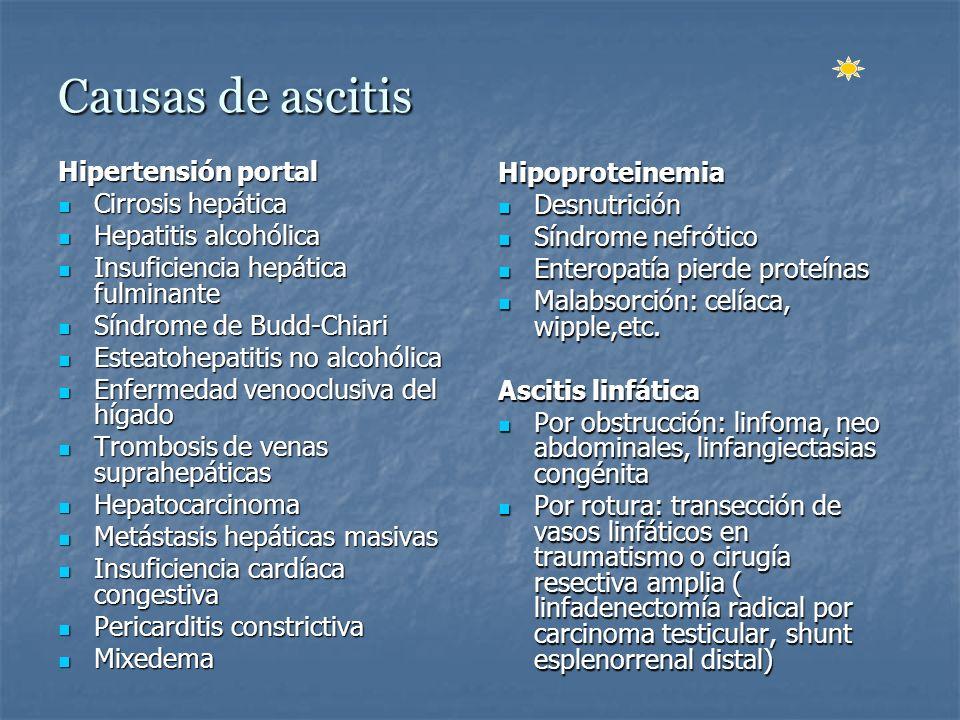 Gradiente de albúmina plasma menos en ascitis Test muy sensible ( 97% ) para diferenciar entre ascitis por hipertensión portal y ascitis de otras causas.