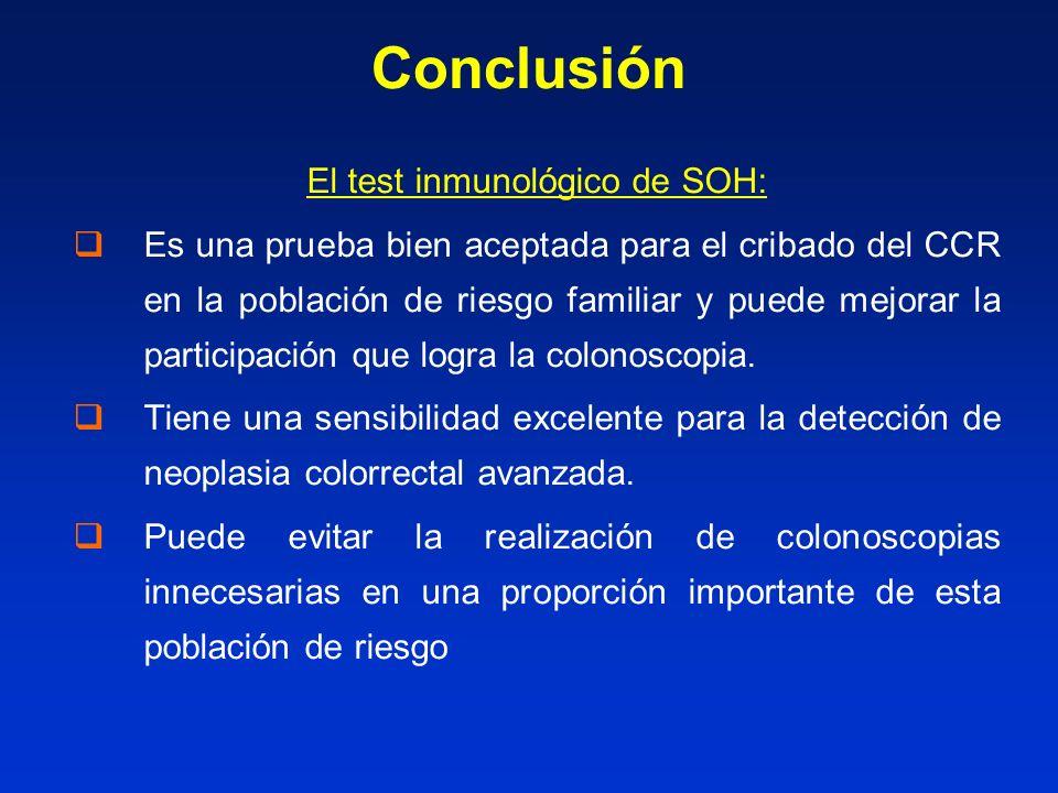 Conclusión El test inmunológico de SOH: Es una prueba bien aceptada para el cribado del CCR en la población de riesgo familiar y puede mejorar la participación que logra la colonoscopia.