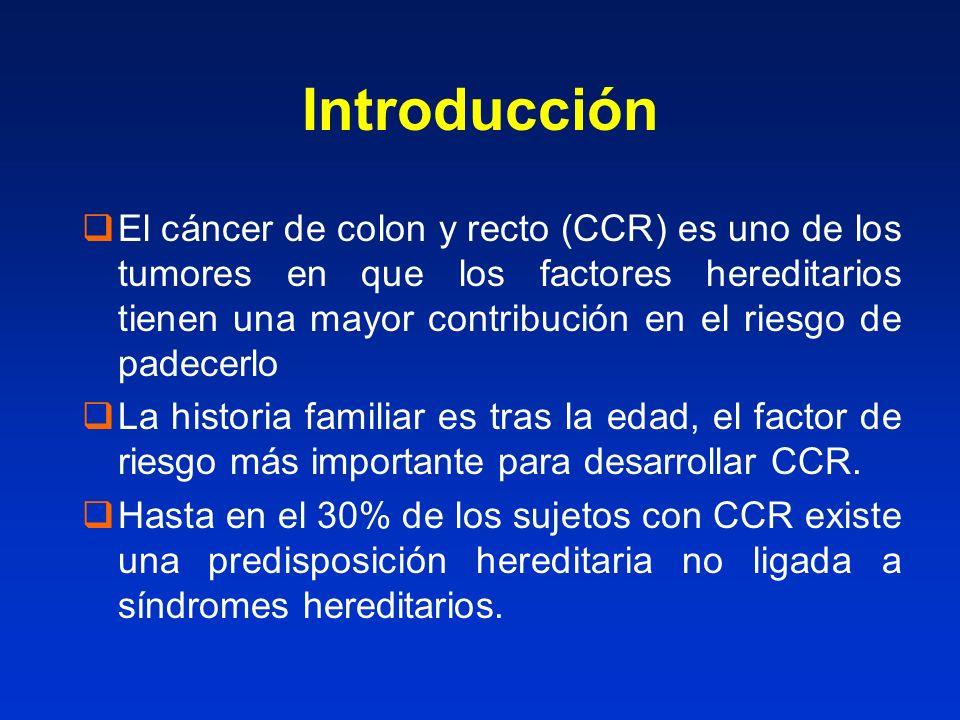 Introducción El cáncer de colon y recto (CCR) es uno de los tumores en que los factores hereditarios tienen una mayor contribución en el riesgo de padecerlo La historia familiar es tras la edad, el factor de riesgo más importante para desarrollar CCR.