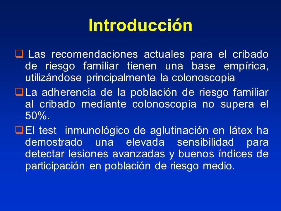 Hipótesis En la población de alto riesgo, el test inmunológico de aglutinación en latex (OC-Light®) podría ser una estrategia mejor aceptada que la colonoscopia y con una eficacia similar para la detección de neoplasia avanzada