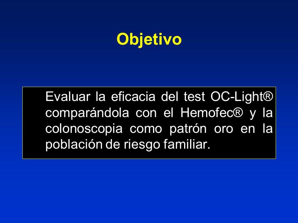 Evaluar la eficacia del test OC-Light® comparándola con el Hemofec® y la colonoscopia como patrón oro en la población de riesgo familiar.