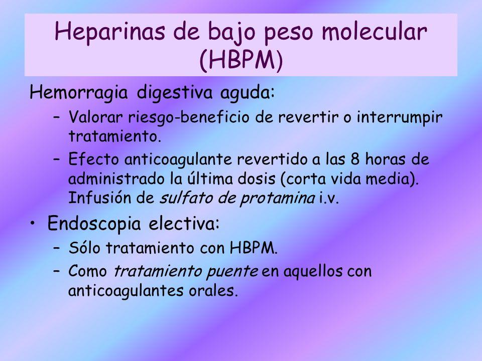 Hemorragia digestiva aguda: –Valorar riesgo-beneficio de revertir o interrumpir tratamiento. –Efecto anticoagulante revertido a las 8 horas de adminis