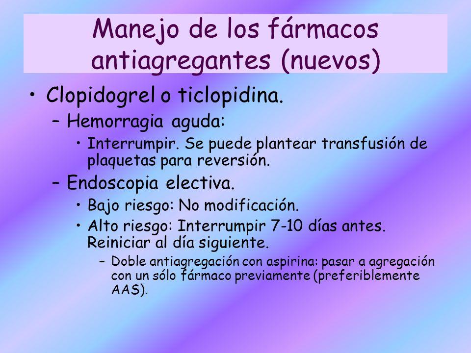 Clopidogrel o ticlopidina. –Hemorragia aguda: Interrumpir. Se puede plantear transfusión de plaquetas para reversión. –Endoscopia electiva. Bajo riesg