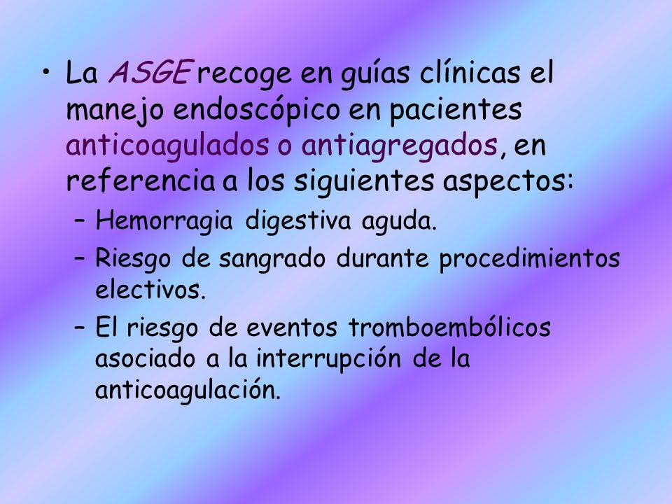 La ASGE recoge en guías clínicas el manejo endoscópico en pacientes anticoagulados o antiagregados, en referencia a los siguientes aspectos: –Hemorrag