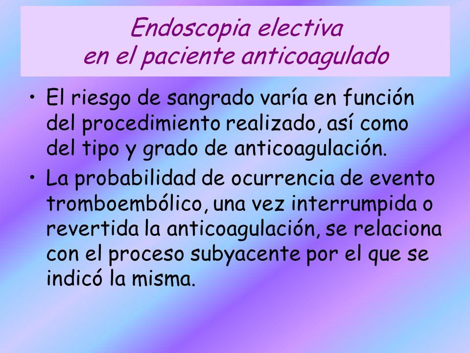 Endoscopia electiva en el paciente anticoagulado El riesgo de sangrado varía en función del procedimiento realizado, así como del tipo y grado de anti