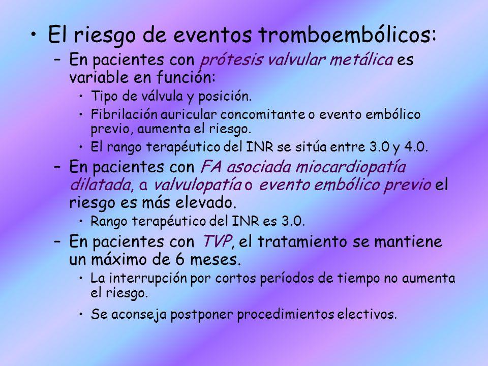 El riesgo de eventos tromboembólicos: –En pacientes con prótesis valvular metálica es variable en función: Tipo de válvula y posición. Fibrilación aur