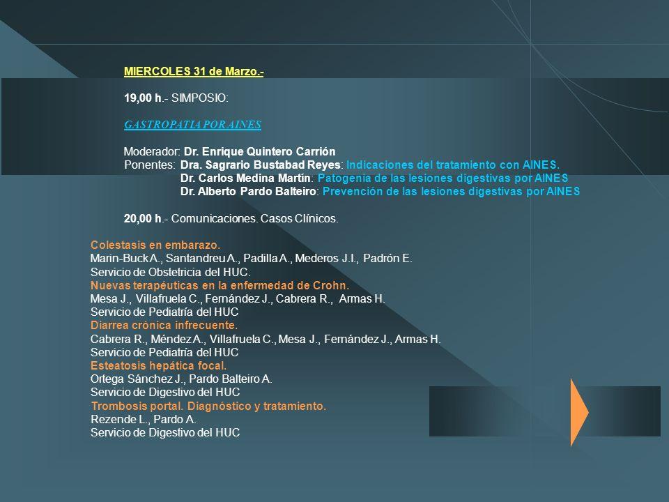 MIERCOLES 31 de Marzo.- 19,00 h.- SIMPOSIO: GASTROPATIA POR AINES Moderador: Dr. Enrique Quintero Carrión Ponentes: Dra. Sagrario Bustabad Reyes: Indi