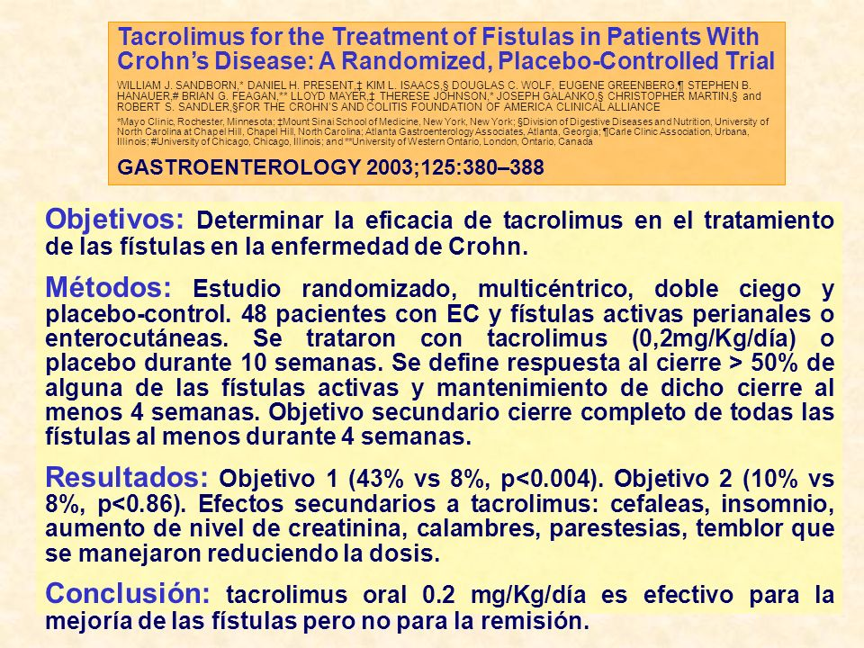 Tacrolimus for the Treatment of Fistulas in Patients With Crohns Disease: A Randomized, Placebo-Controlled Trial WILLIAM J.