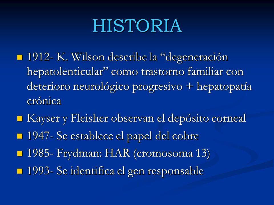 HISTORIA 1912- K. Wilson describe la degeneración hepatolenticular como trastorno familiar con deterioro neurológico progresivo + hepatopatía crónica