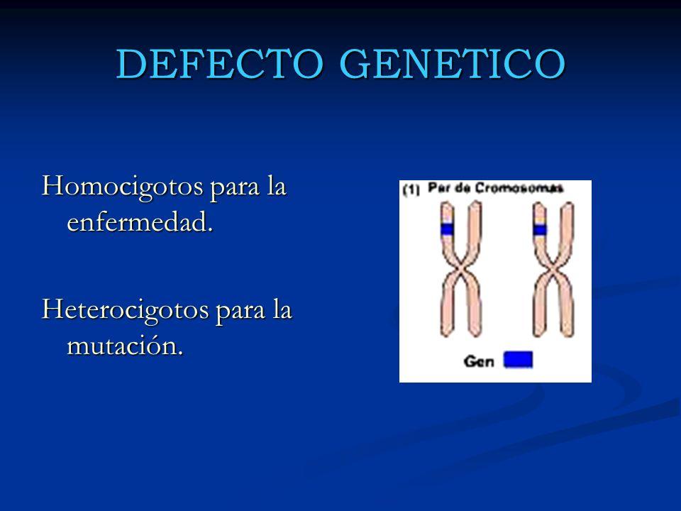 DEFECTO GENETICO Homocigotos para la enfermedad. Heterocigotos para la mutación.