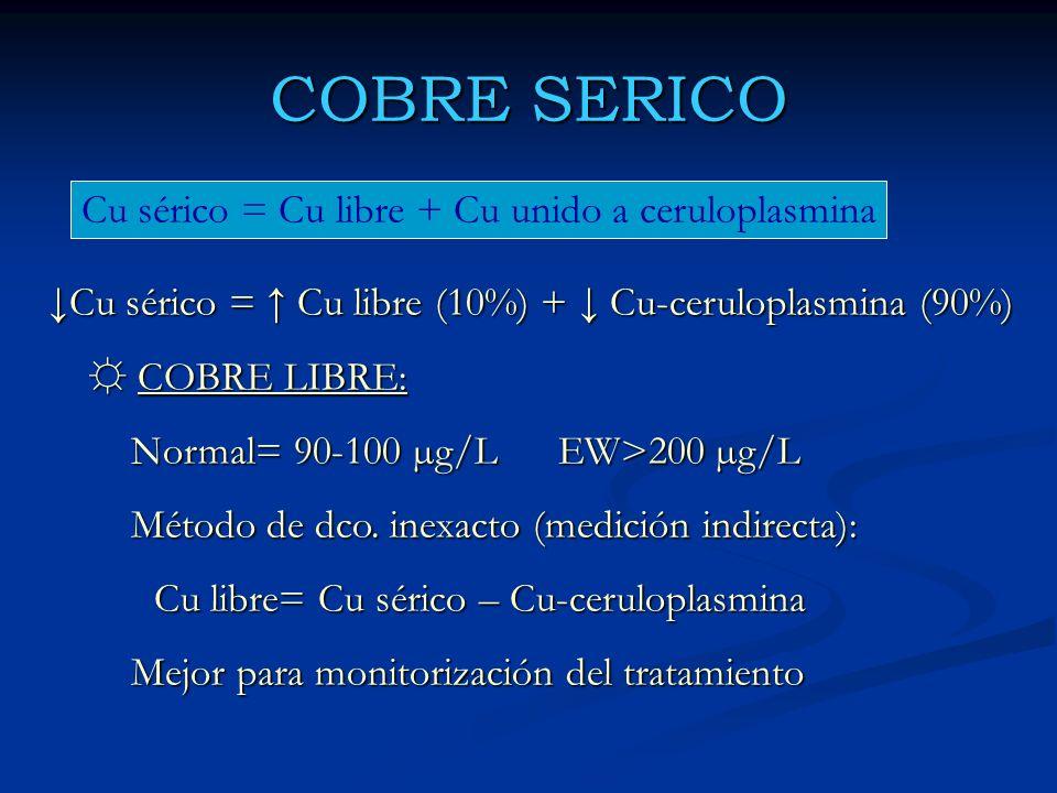 COBRE SERICO Cu sérico = Cu libre + Cu unido a ceruloplasmina Cu sérico = Cu libre (10%) + Cu-ceruloplasmina (90%) COBRE LIBRE: COBRE LIBRE: Normal= 9