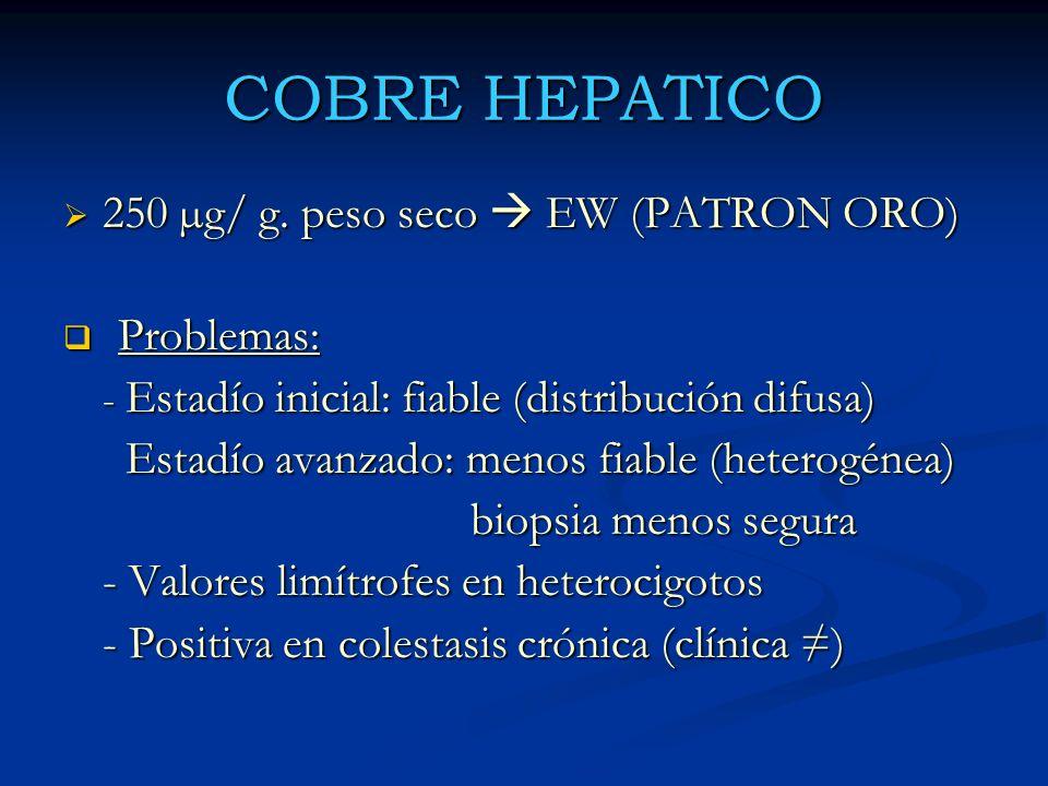 COBRE HEPATICO 250 µg/ g. peso seco EW (PATRON ORO) 250 µg/ g. peso seco EW (PATRON ORO) Problemas: Problemas: - Estadío inicial: fiable (distribución