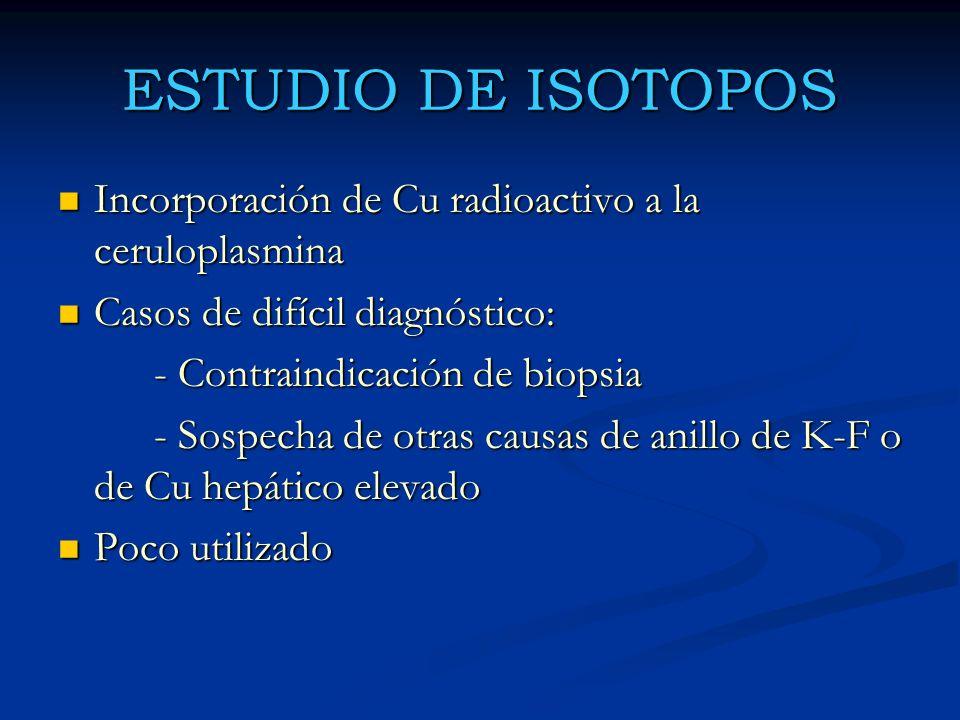 ESTUDIO DE ISOTOPOS Incorporación de Cu radioactivo a la ceruloplasmina Incorporación de Cu radioactivo a la ceruloplasmina Casos de difícil diagnósti